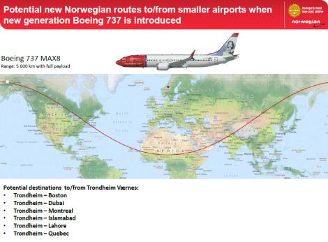 Norwegian Air Shuttle Boeing B737MAX8 Rutekart