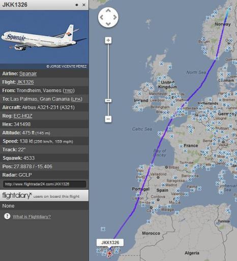 Skjermdump: Flightradar24.com